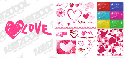 Number of Valentine's Day heart-shaped elements of vector material