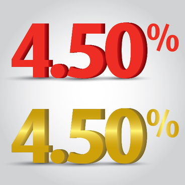 number percentage red gold grey background discount sales 3d