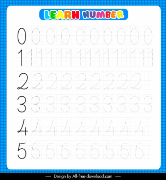 number studying education template modern colored bright decor