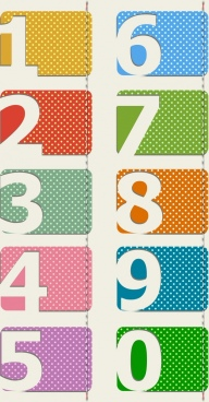 number tags icons paper cut design colorful spots