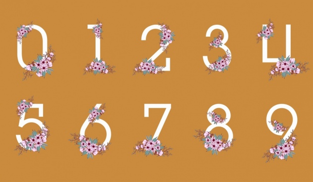numberal icons design elements pink flowers decoration