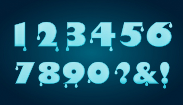 numbering background blue water droplets decoration