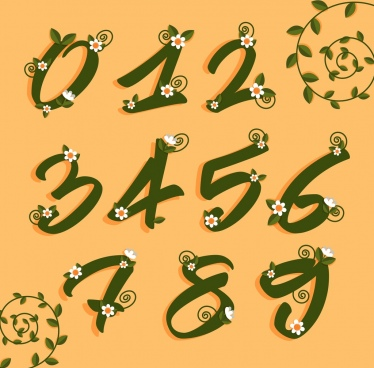 numbers backdrop italic design green leaf flowers decoration