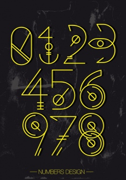 numbers background artistic signs decor yellow design