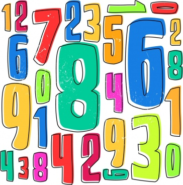 numbers background colorful handdrawn sketch
