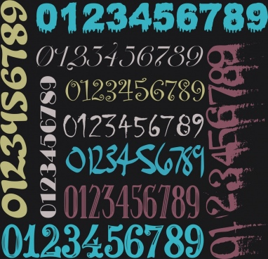 numbers background dark colorful decor horizontal vertical design
