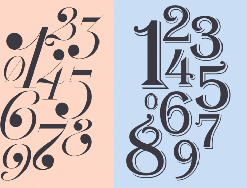 numbers background italic bold design