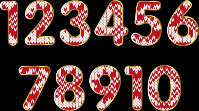 numbers background red white flat decor