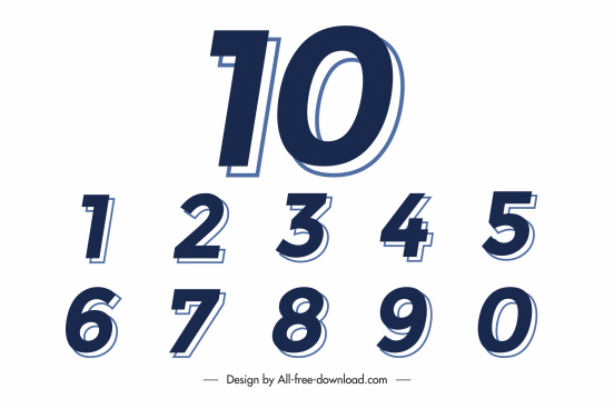 numbers background template colored flat sketch shadow decor