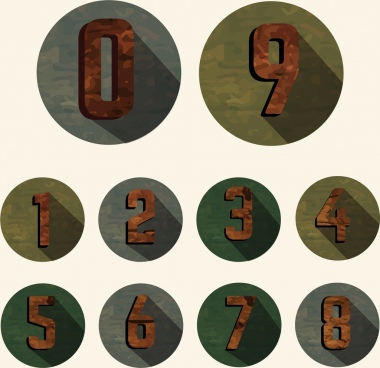 numbers icons classical design circles isolation