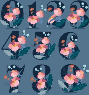 numbers icons flowers decoration