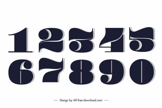 numeral icons flat dark black design