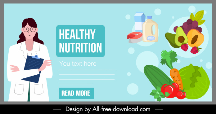 nutrition food banner doctor vegetable fruits dairy sketch