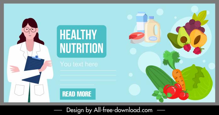 nutrition food banner doctor vegetable fruits dairy sketch
