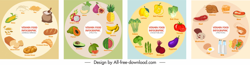 nutrition food infographic banners colorful circle layout