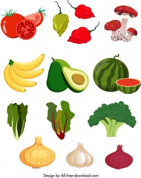 nutritious food icons colorful vegetables ingredients fruits sketch