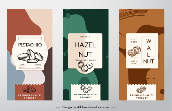 nuts product labels templates dark classical abstract decor