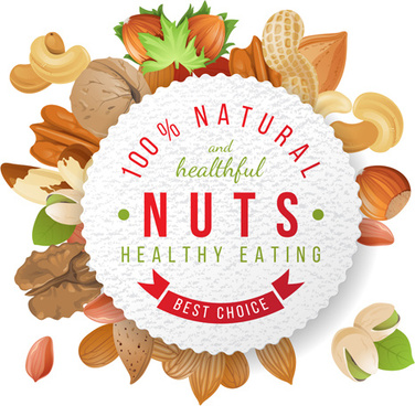 nuts with round paper vector background