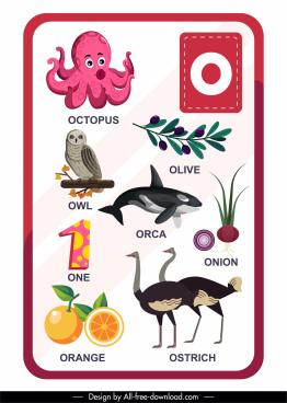 o alphabet education template animal plants number sketch