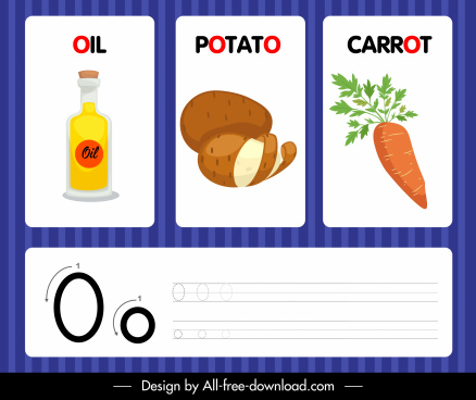 o alphabet educational template oil potato carrot sketch