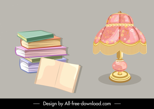 objects icons books stack lamp sketch 3d classic