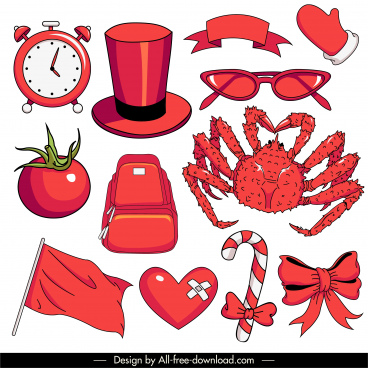 objects icons red sketch classic handdrawn