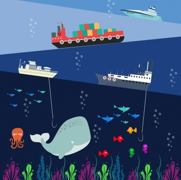 ocean activities background colorful layers ship fish icons