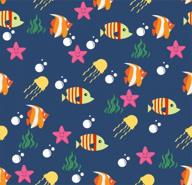 ocean animals background colorful repeating decoration
