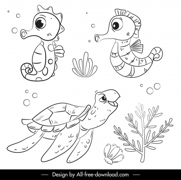 ocean animals icons seahorse turtle sketch handdrawn cartoon