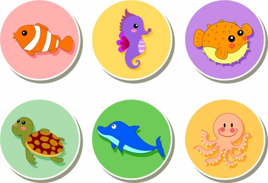 ocean animals icons various colored types isolation