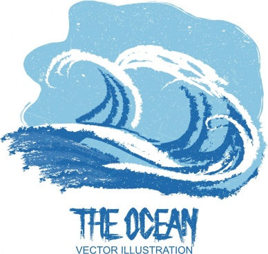 ocean background blue white retro handdrawn waves sketch