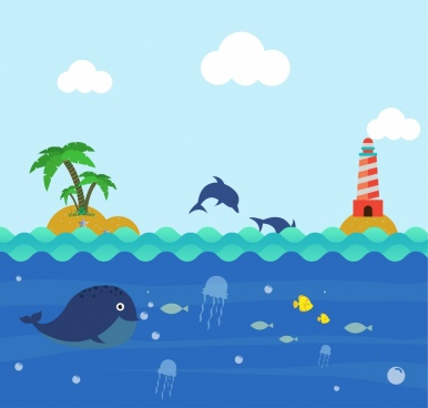 ocean background colorful cartoon design playful dolphin icons