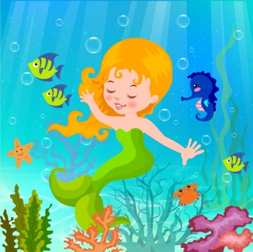 ocean background cute mermaid icon colorful cartoon design