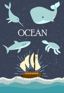 ocean background sea animals ship icons cartoon design