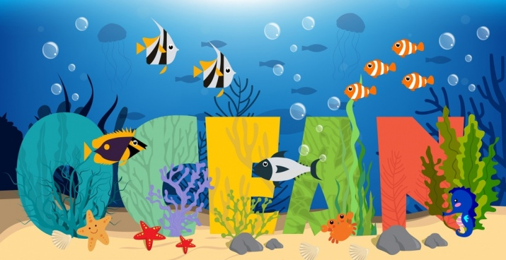 ocean background seabed fish icons texts decoration