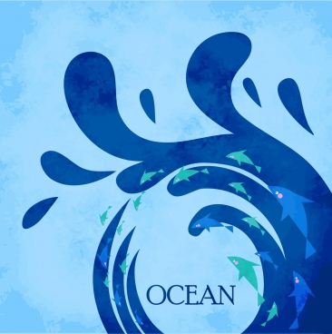 ocean background splashing blue wave fish decoration