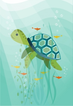 ocean background turtle fishes icons colorful cartoon