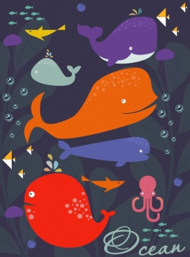 ocean background whale fish octopus icon colored cartoon