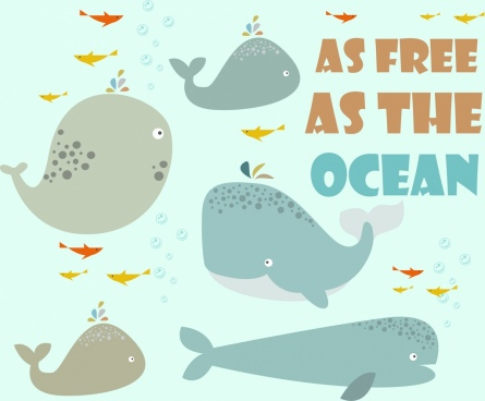 ocean background whales icons decor cartoon style