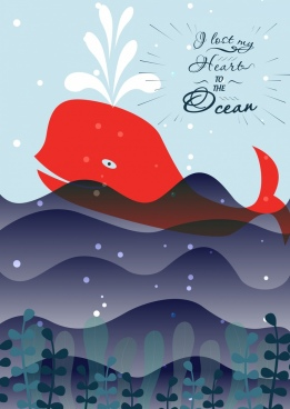 ocean banner whale wave icons flat design