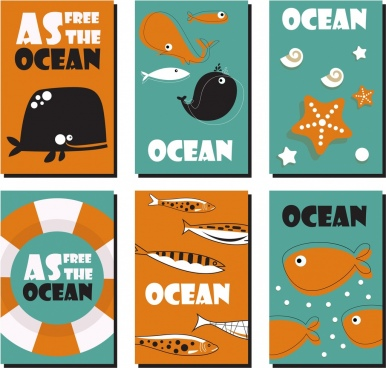 ocean banners sets classical colored flat design