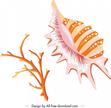 ocean creatures icons shell coral sketch bright design