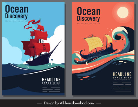 ocean discovery banner cruising sailing boat colorful decor