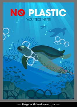 ocean environment protection banner turtles plastic contamination sketch
