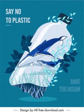 ocean protection banner plastic bottle sea elements sketch