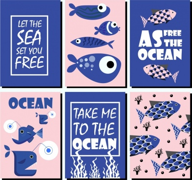 ocean protection banner sets classical blue design