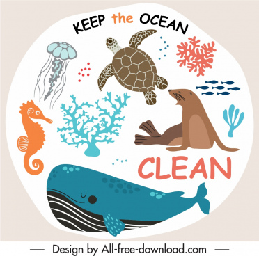 ocean protection banner species sketch