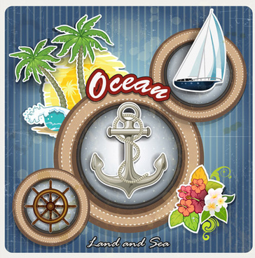 ocean sail elements background vector