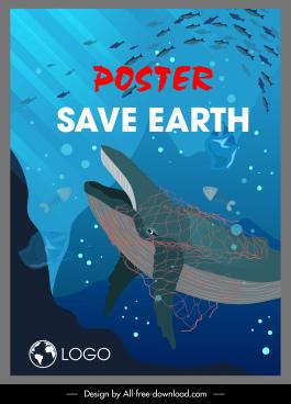 ocean saving poster sea species rubbish sketch
