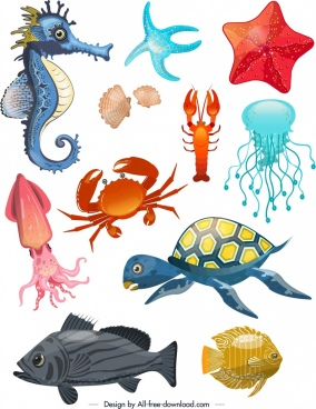 ocean species design elements multicolored animals icons